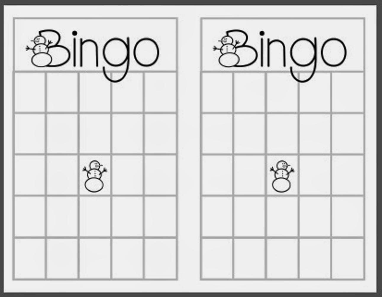 Christmas Blank Bingo Card Template