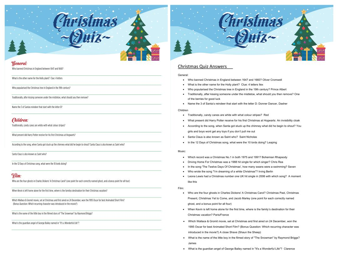 Christmas Food Trivia Questions and Answers Printable