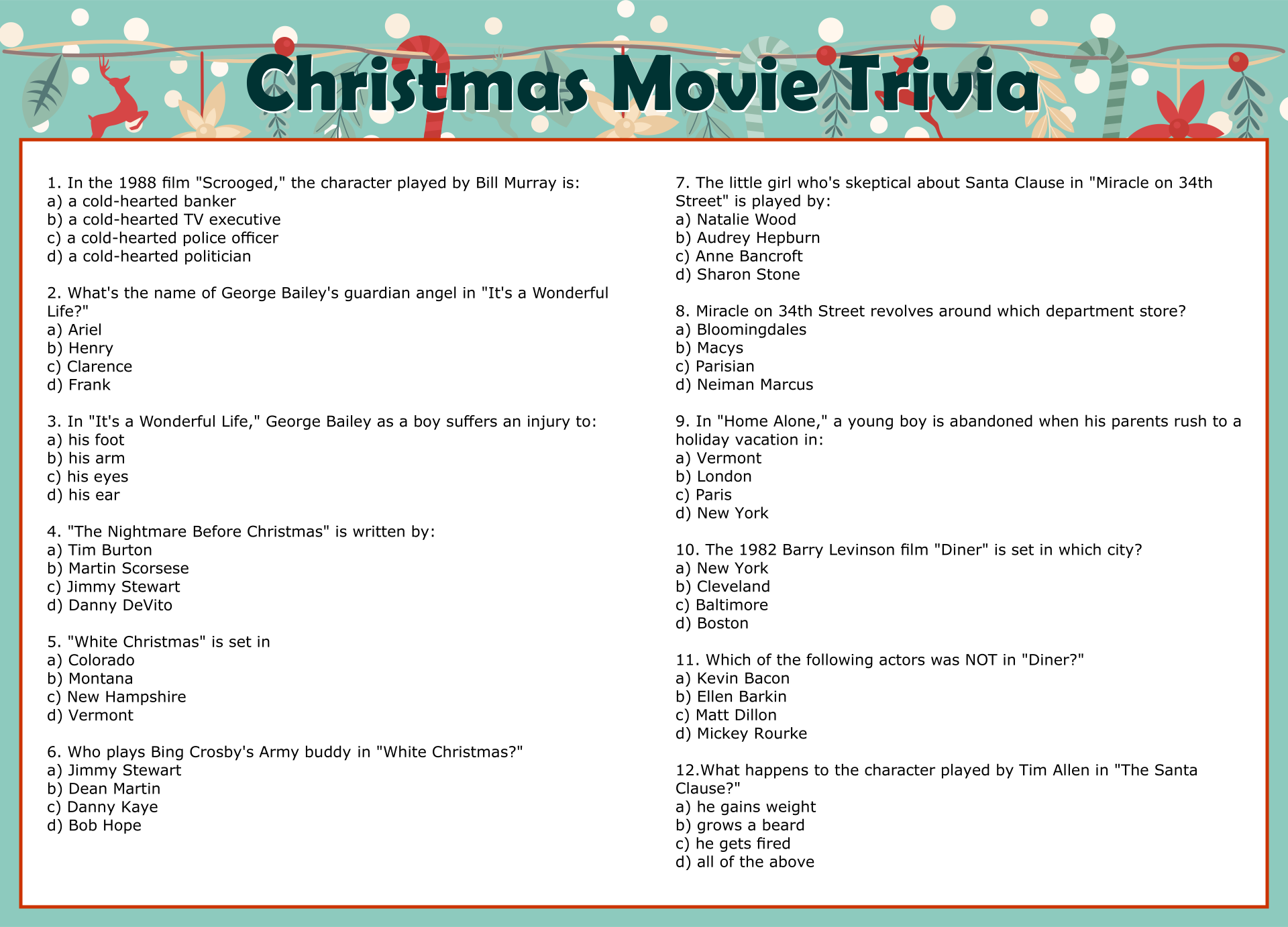 9 Images of Christmas Vacation Printable Movie Trivia