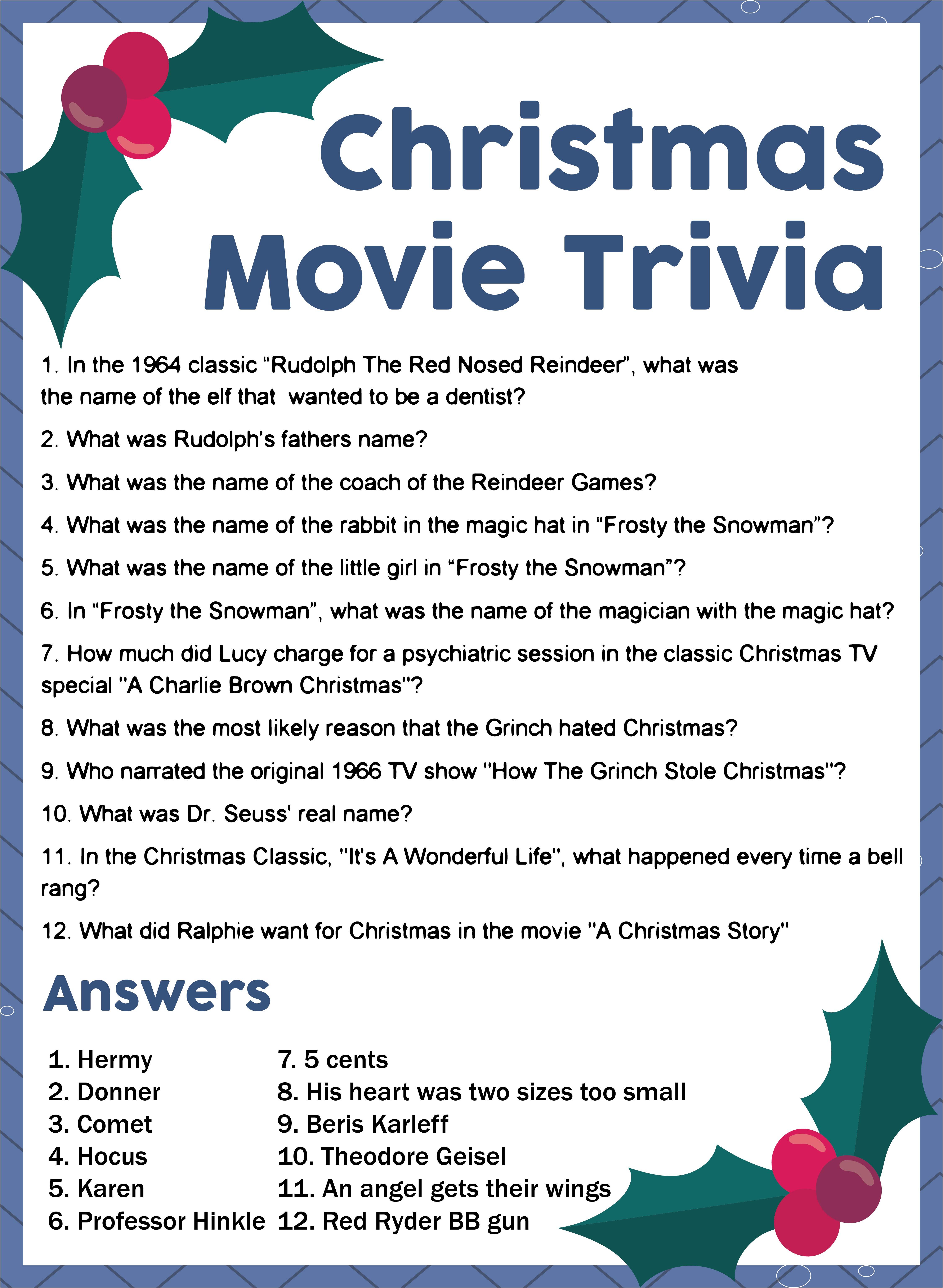 Christmas Movie Trivia Printable