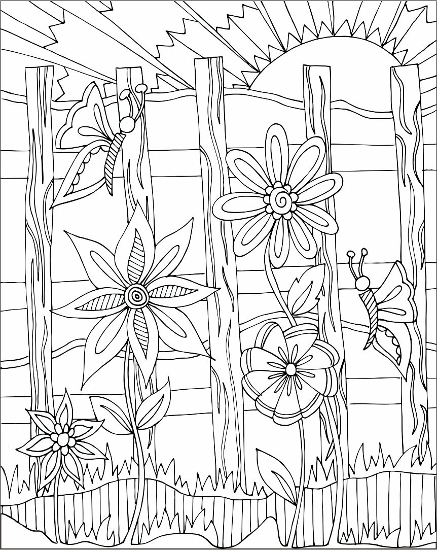 Doodle Art Coloring Pages Flowers