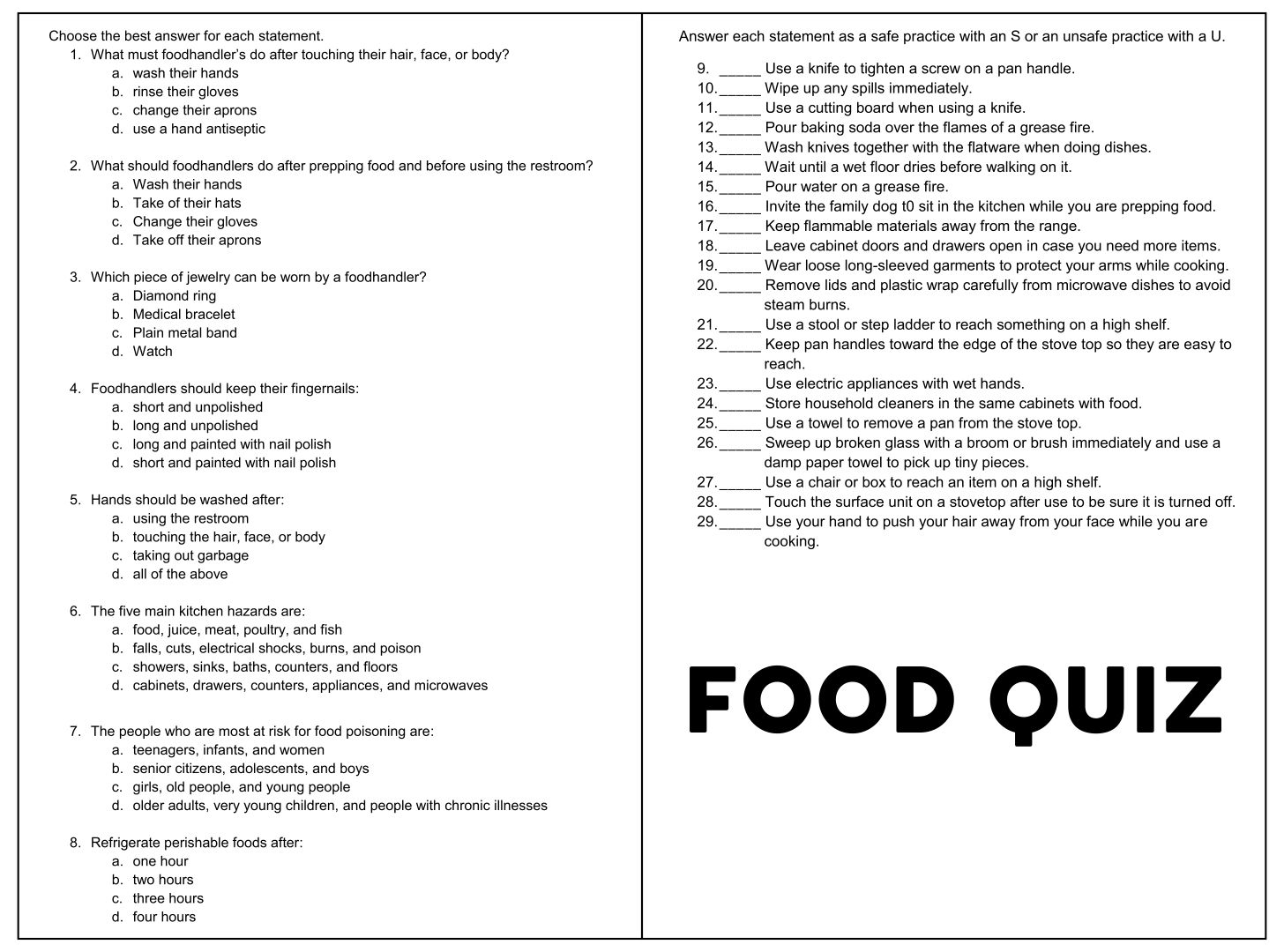 Food Quiz Printable
