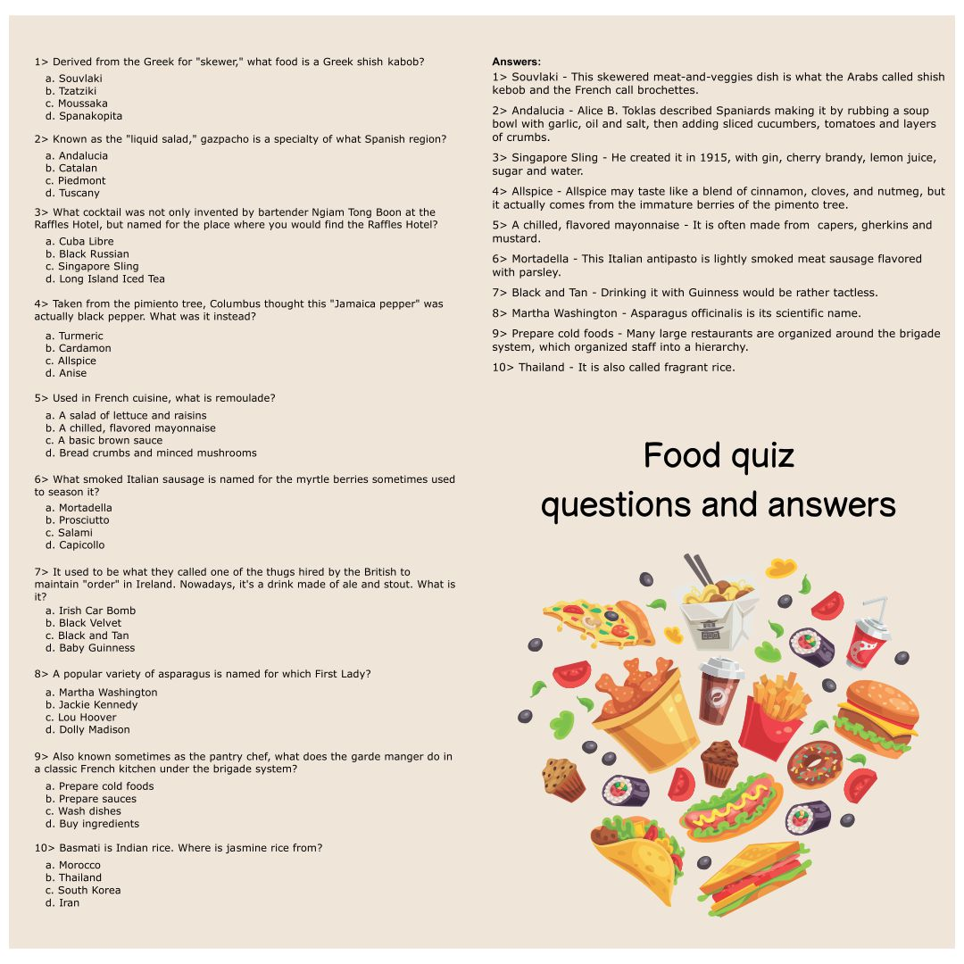 Food Quiz Questions and Answers