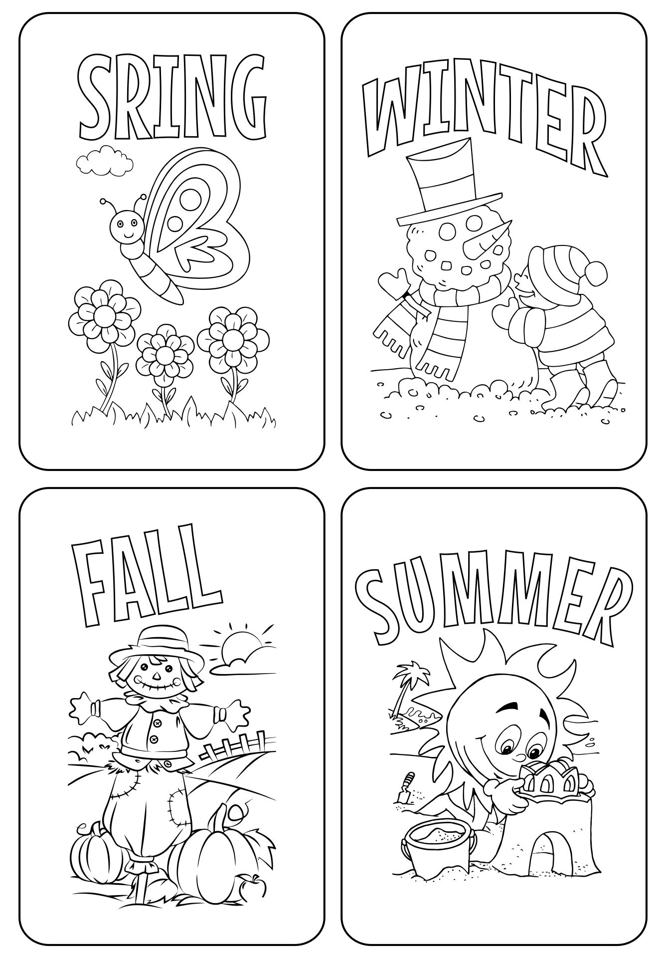 math worksheet : 6 best images of seasons preschool coloring pages printables  : Kindergarten Seasons Worksheets