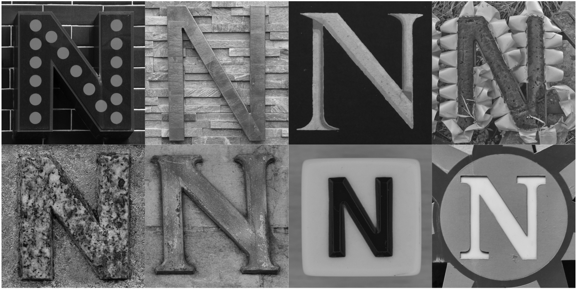 Black and White Alphabet Photography Letter N