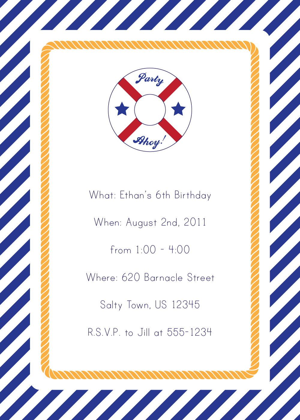 7 Best Images of Free Printable Nautical Invitations - Nautical Party Printables Free, Free ...