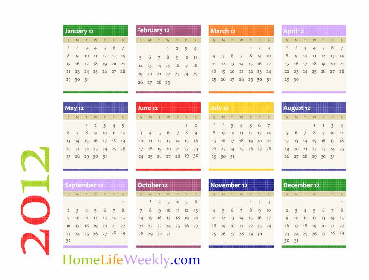 7 Images of Free Printable Month Calendar 2012