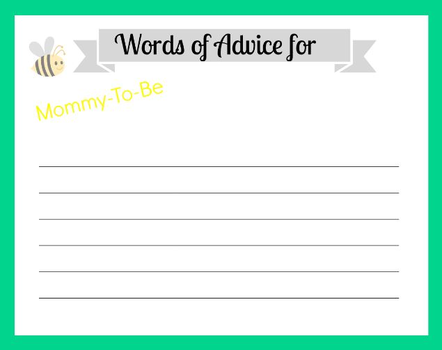 6 Images of Free Printable Baby Advice Cards