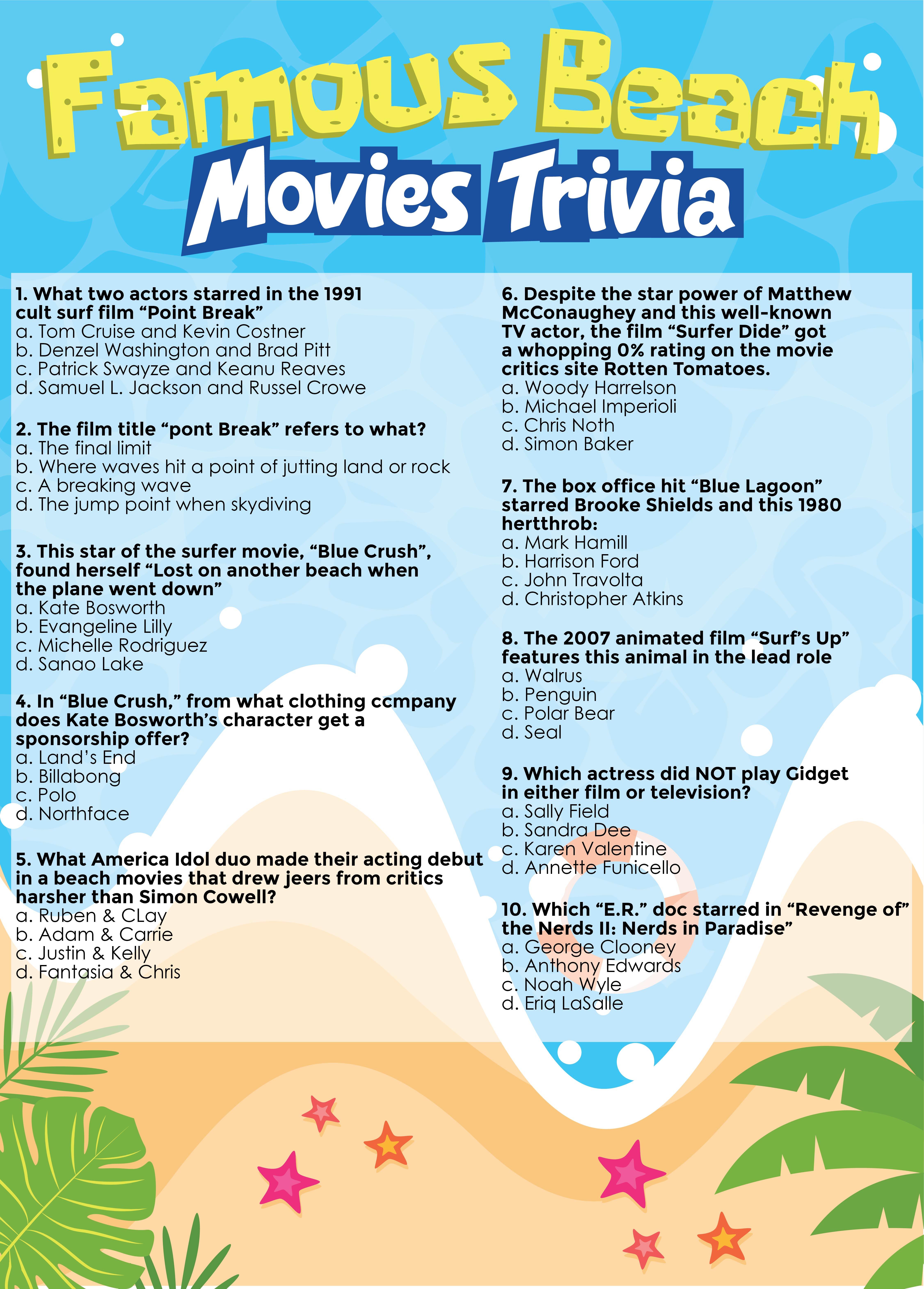 Printable Beach Trivia Movie