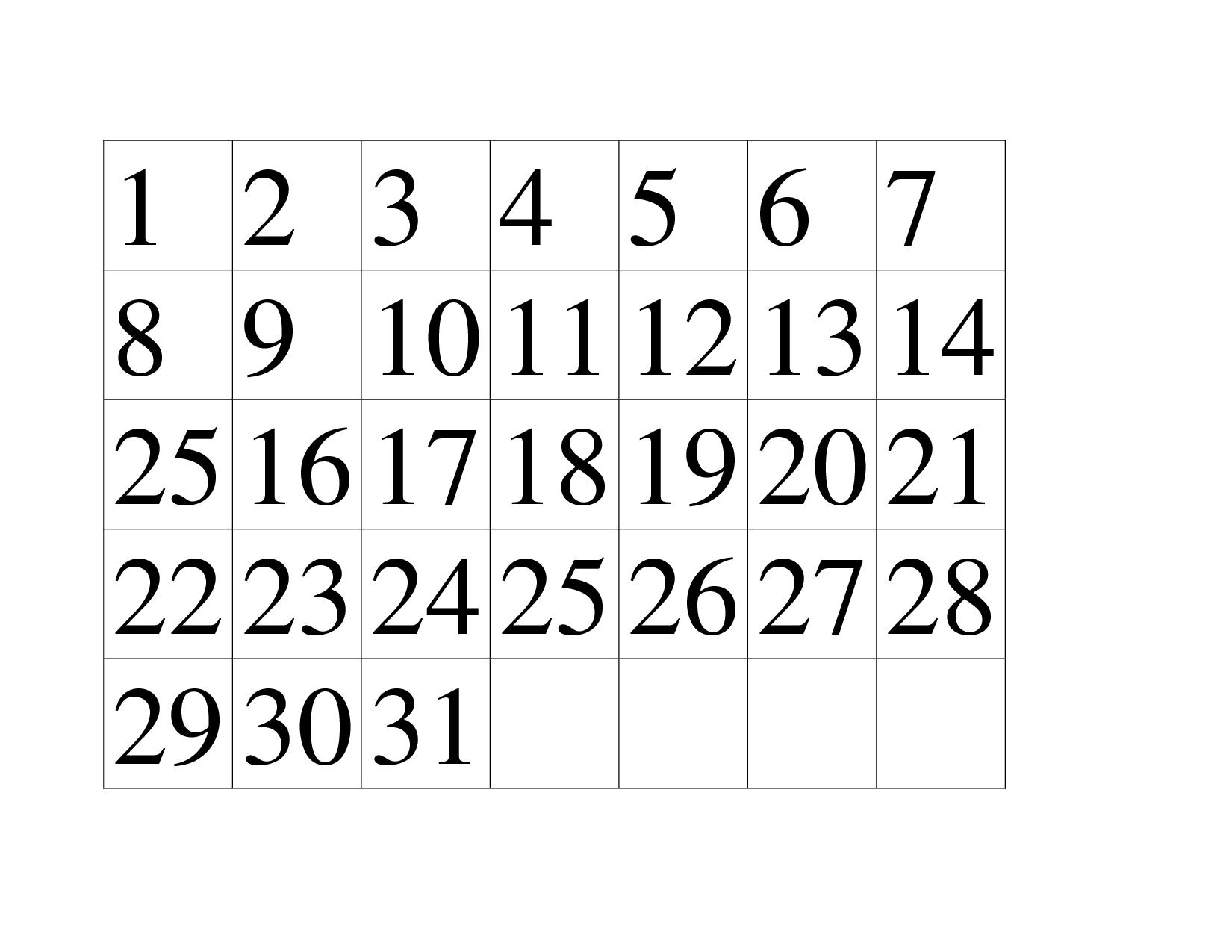 4 Images of Printable Preschool Numbers 1 31