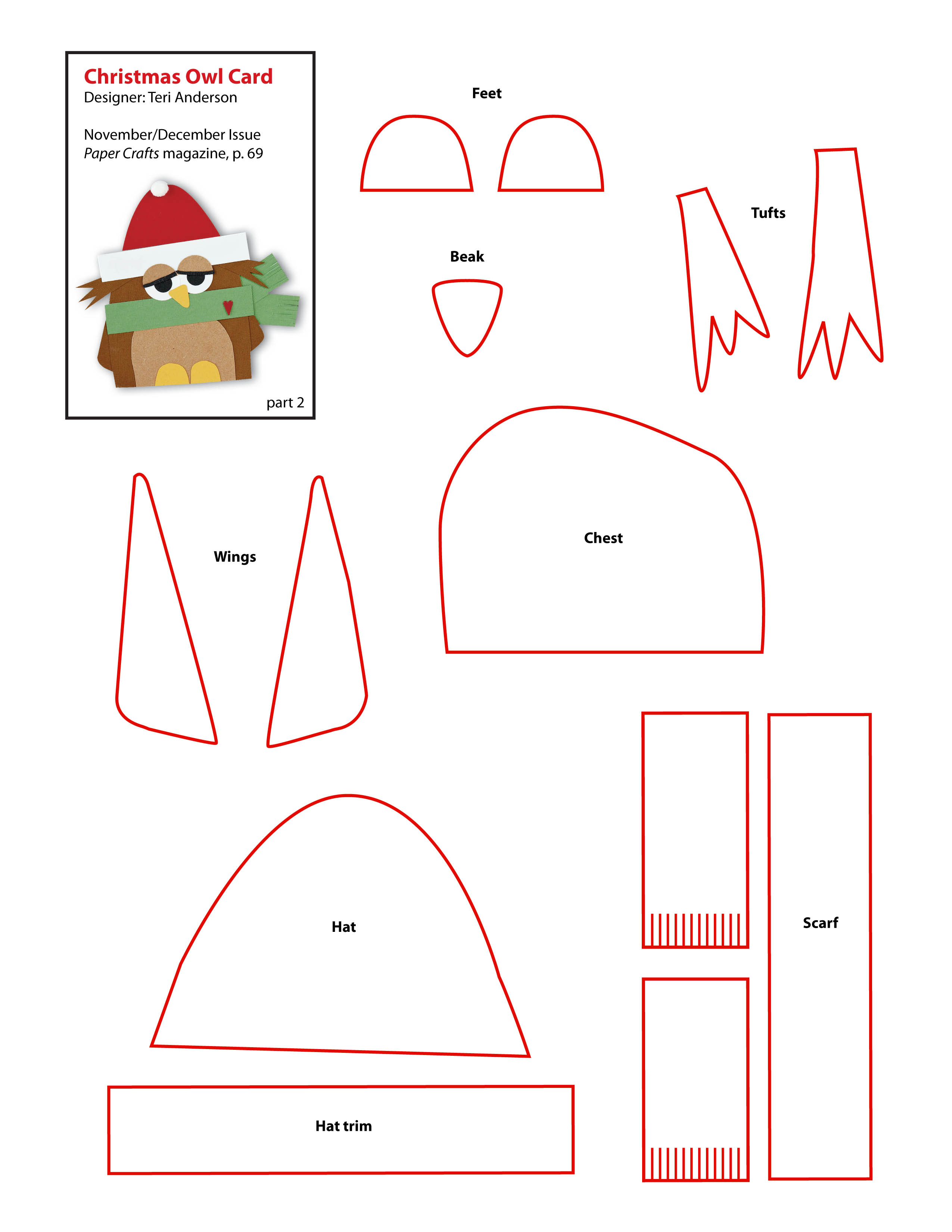 6 best images of free printable owl template pattern for Free printable christmas craft templates