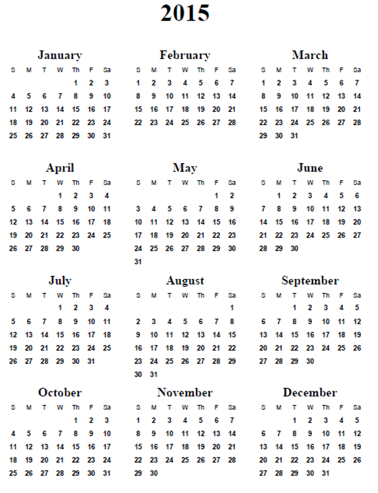Free Printable Com Yearly Calendars 2015