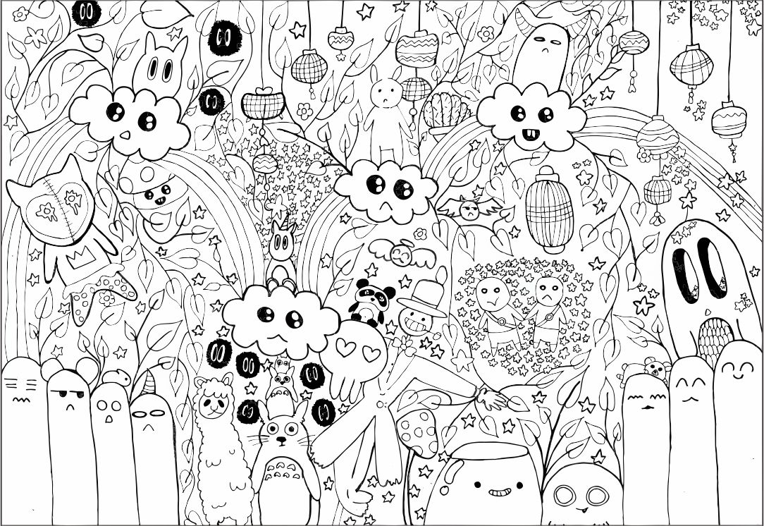 8 best images of printable coloring pages doodle art for Free doodle art coloring pages