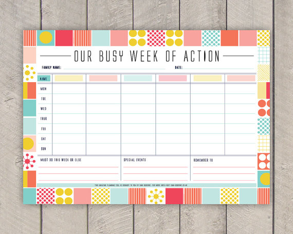 8 Images of Colourful Weekly Planner Printable