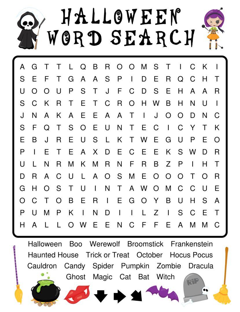Printable Halloween Word Search for Kids