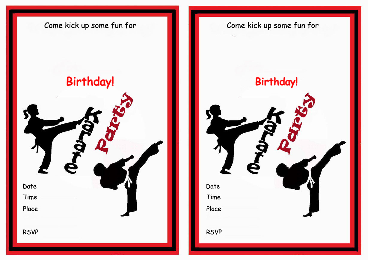 9 Images of Karate Birthday Invitations Printable