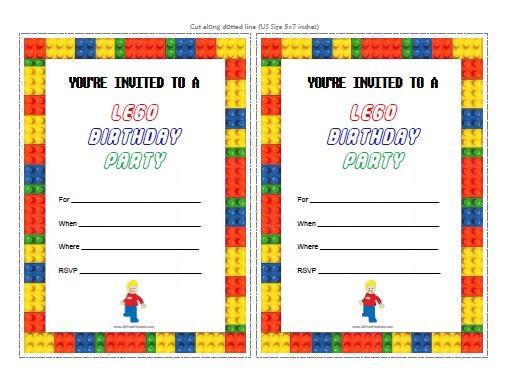 Free Printable LEGO Birthday Invitations Templates