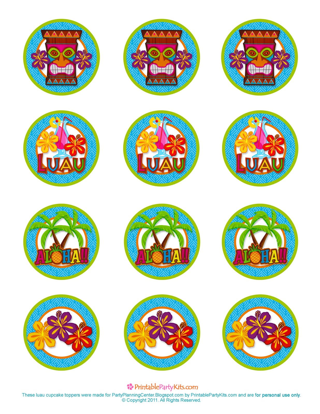 5 Images of Luau Cupcake Toppers Free Printable