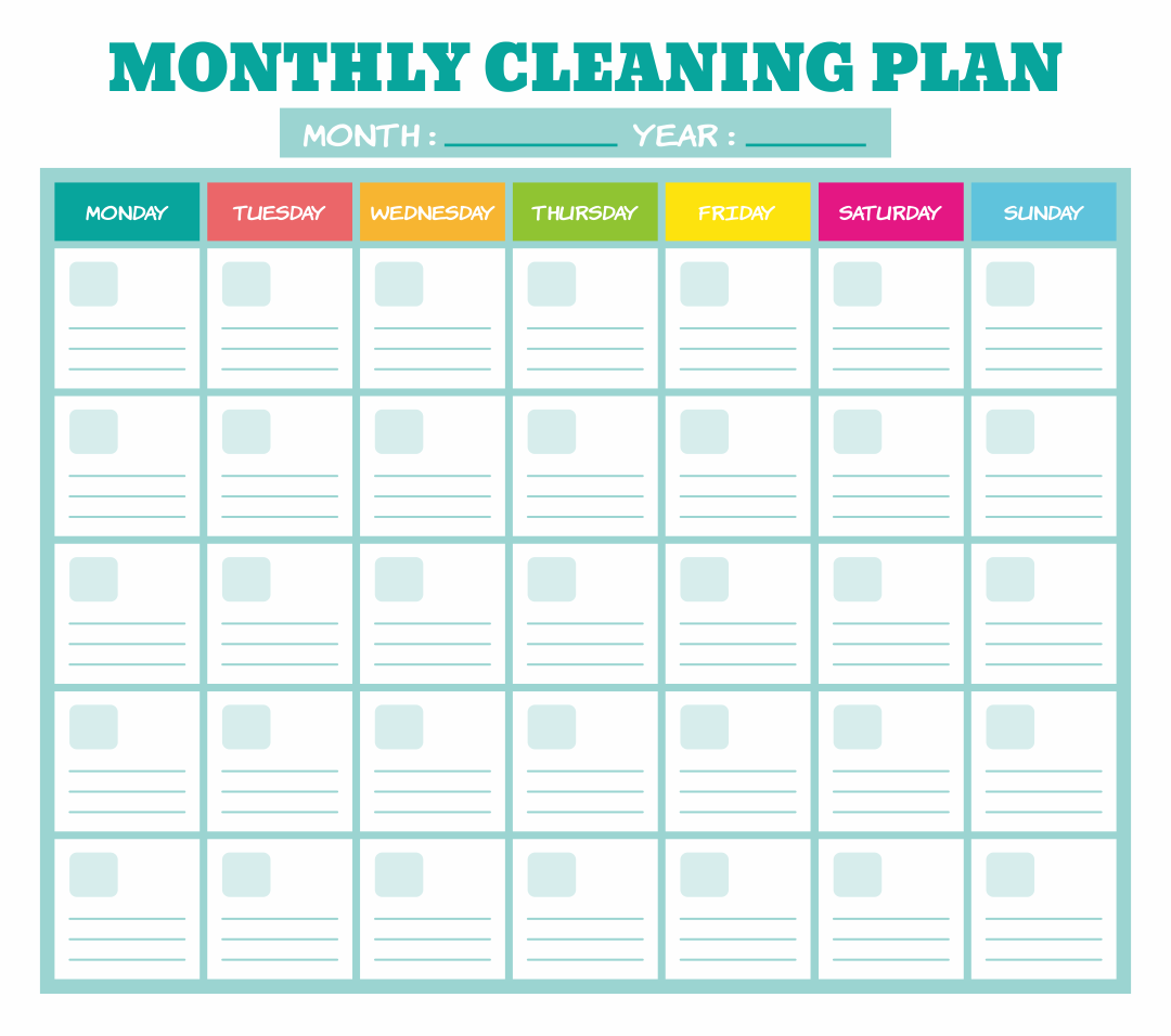 Printable Monthly Cleaning Plan