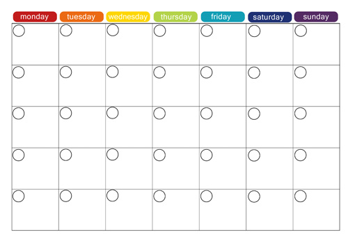 6 Images of Printable Blank Menu Calendar Monthly