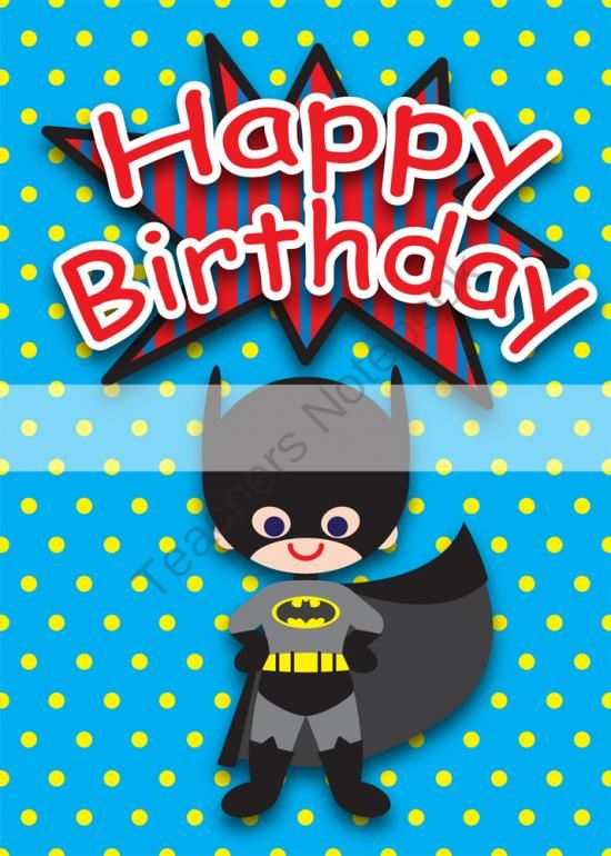6 Images of Superhero Printable Birthday Cards