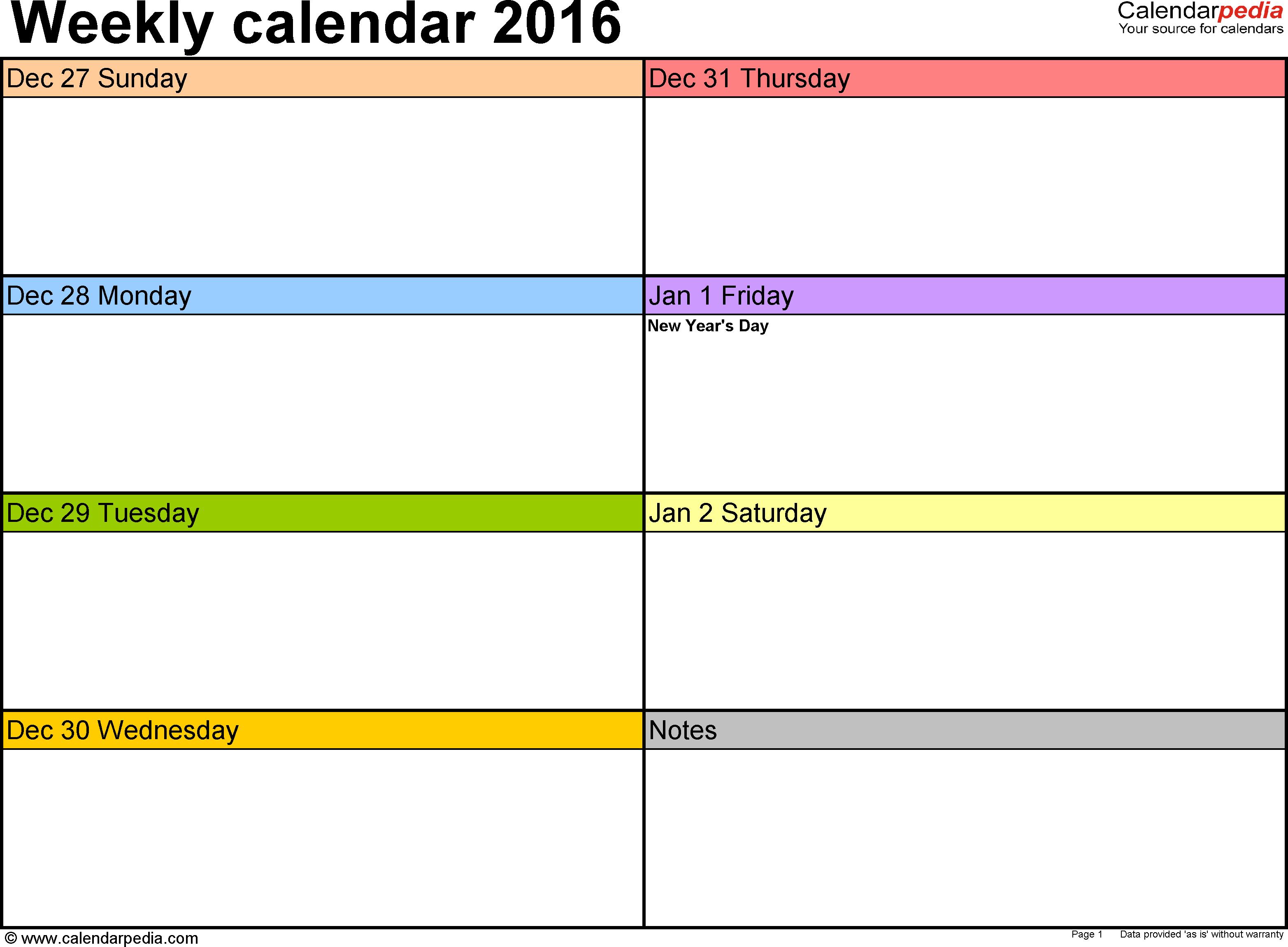 9 Images of Printable Weekly Calendar Template 2016