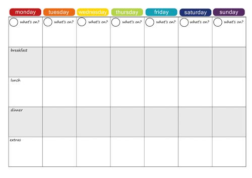 6 Images of Printable Weekly Menu Calendar
