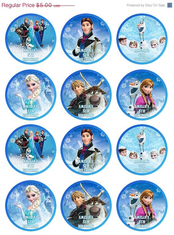 8 Images of Frozen Printable Cupcake Toppers