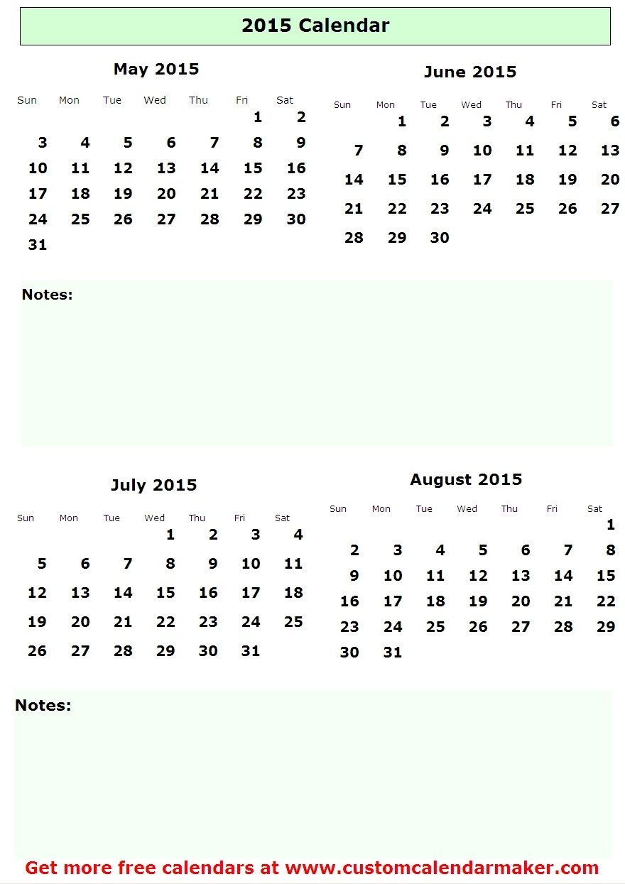 2015 June: 8 Best Images Of June July August 2015 Calendar Printable