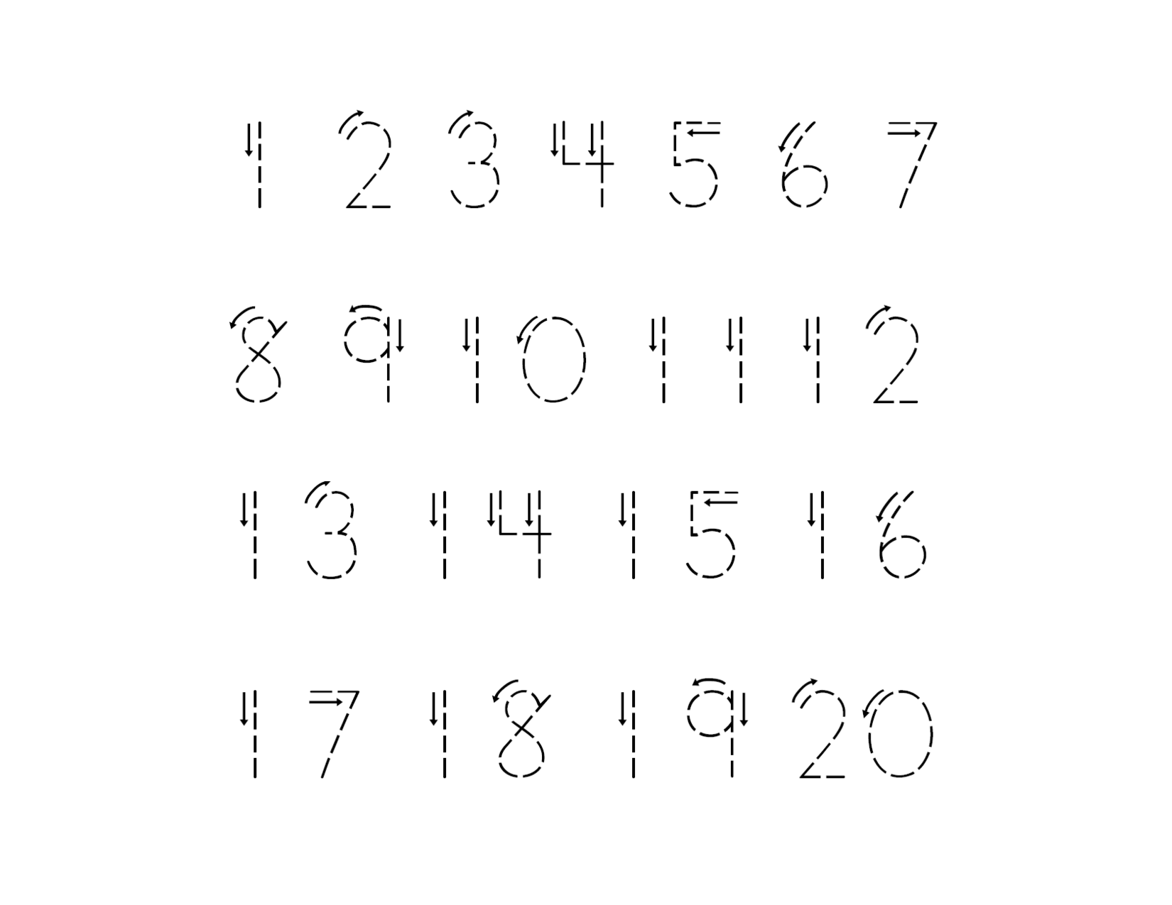 5 Images of Printable Tracing Numbers 1 20