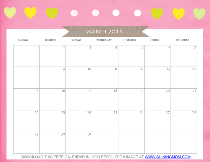 8 Images of Cute Free Printable March 2015 Calendar