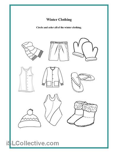 6 Images of Winter Wear Worksheet Preschool Printable