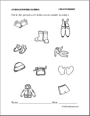 6 Best Images of Winter Wear Worksheet Preschool Printable ...