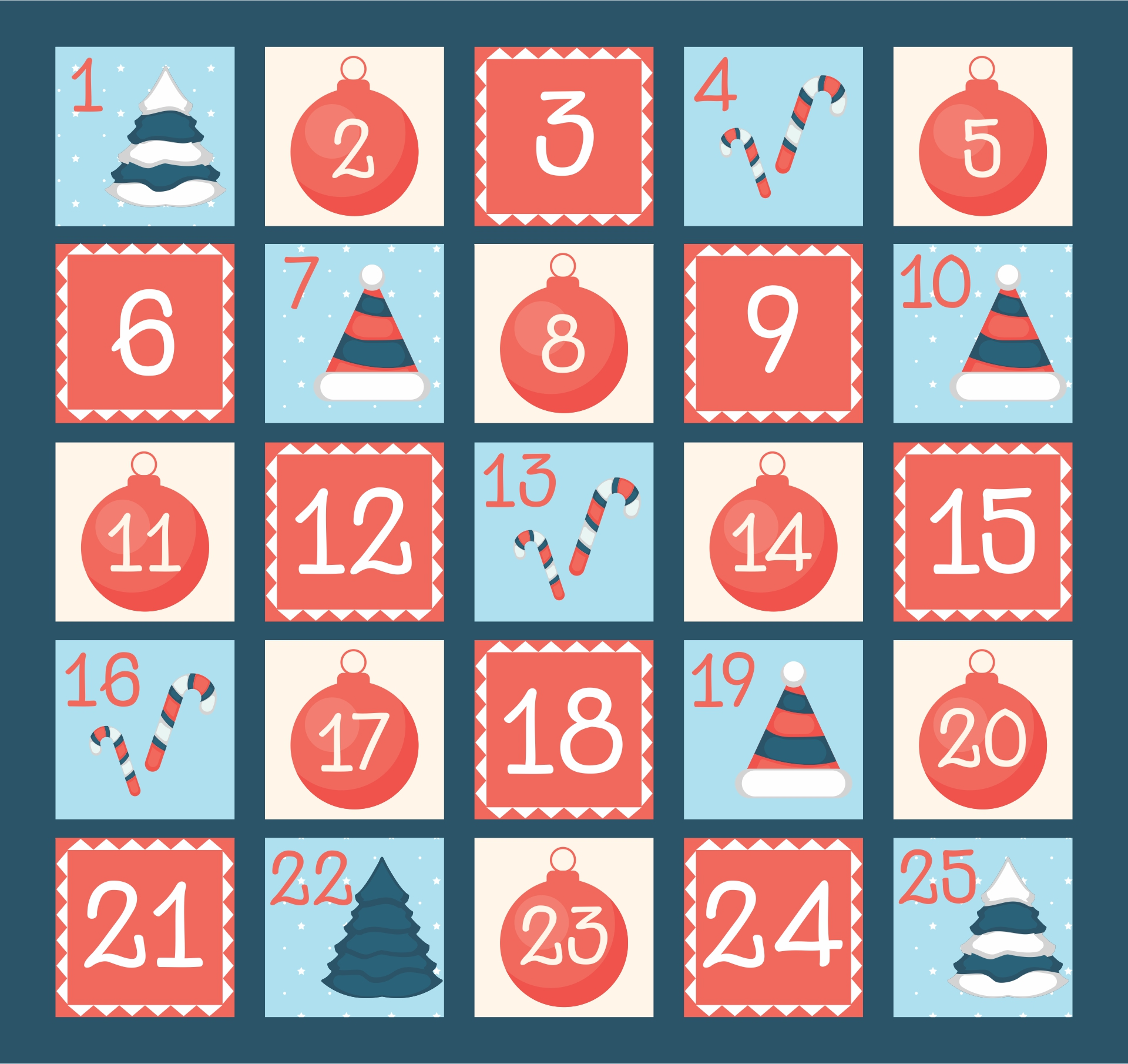 Printable Christmas Numbers 1 25