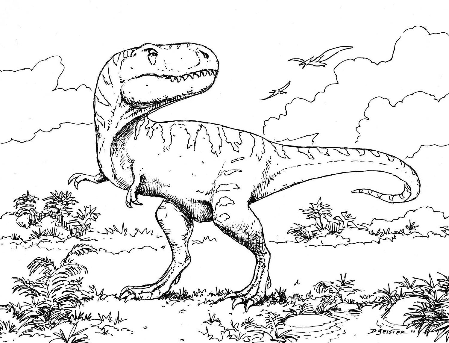 6 Images of Printable Coloring Page Dinosaur Colouring