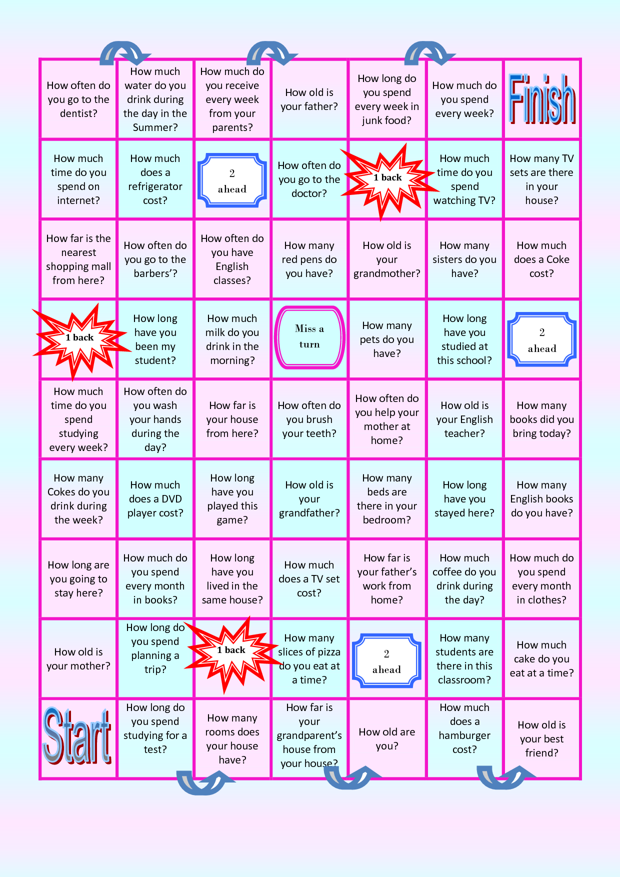 esl conversation board games printable