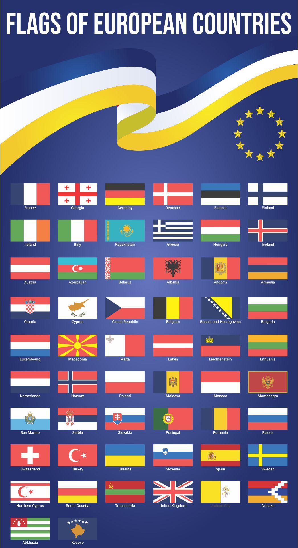 Printable Flags of European Countries