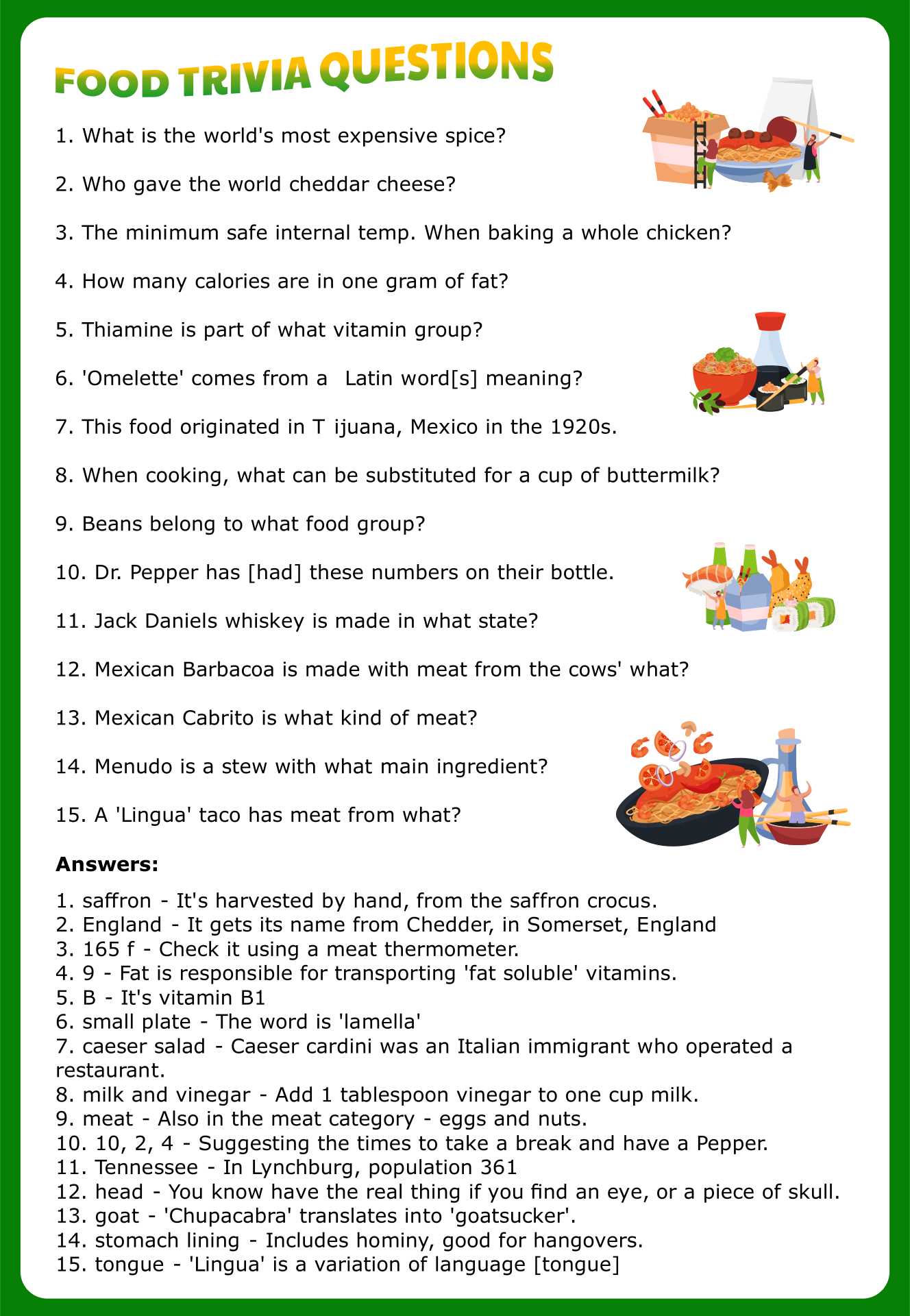 This is a picture of Old Fashioned Food Trivia Questions and Answers Printable