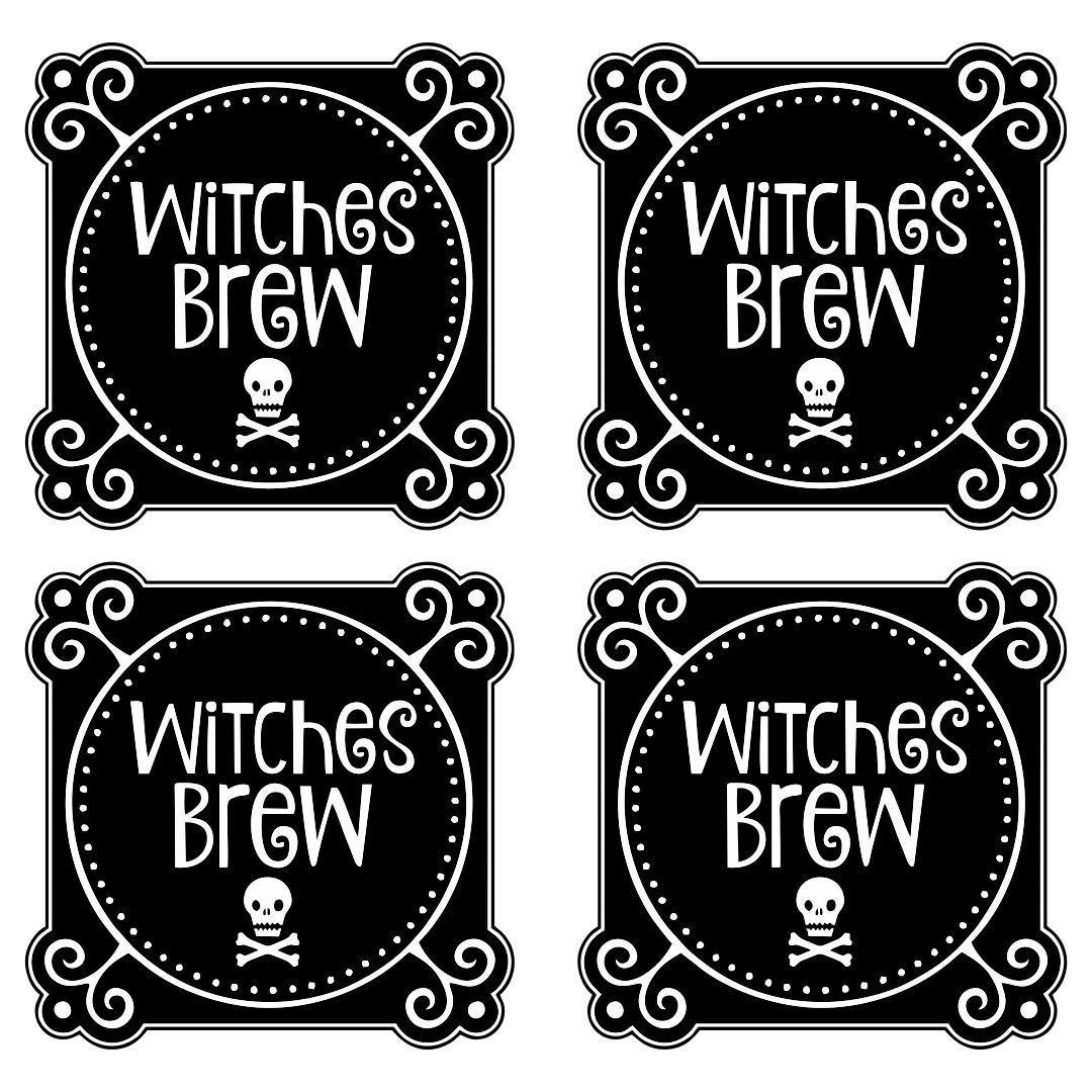 Printable Halloween Bottle Labels Witches Brew
