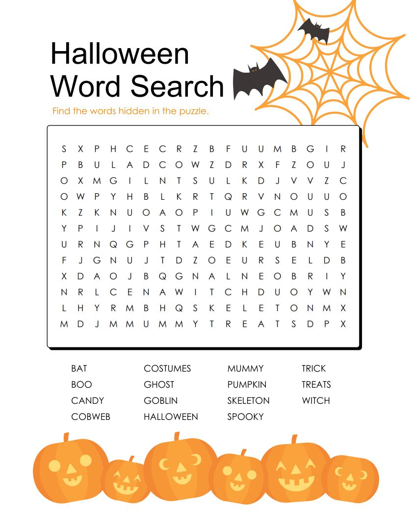 Printable Halloween Word Search Puzzles