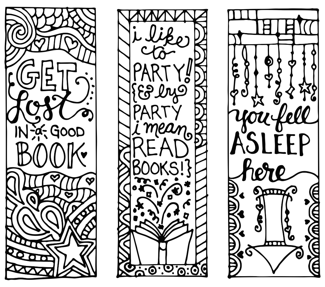 Printable Reading Bookmarks to Color