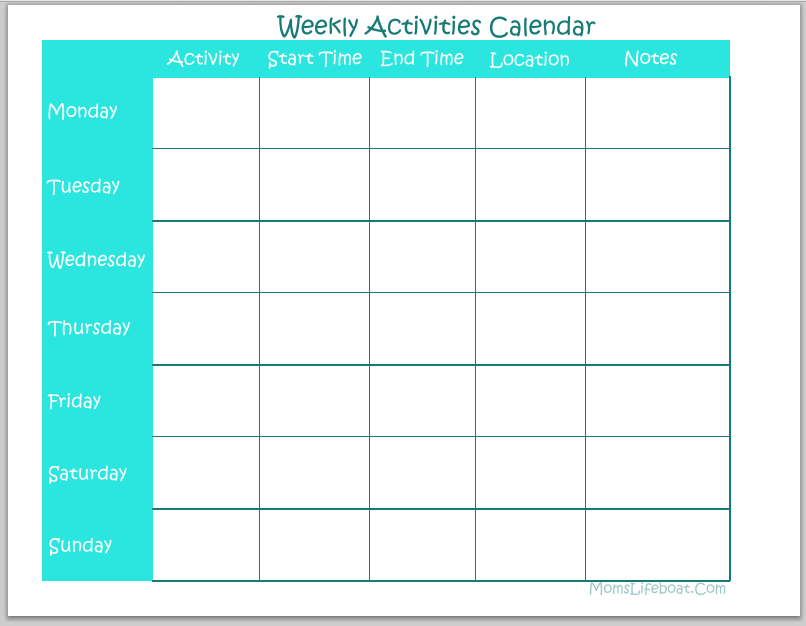Weekly To Do Calendar : Best images of printable weekly calendar to do free