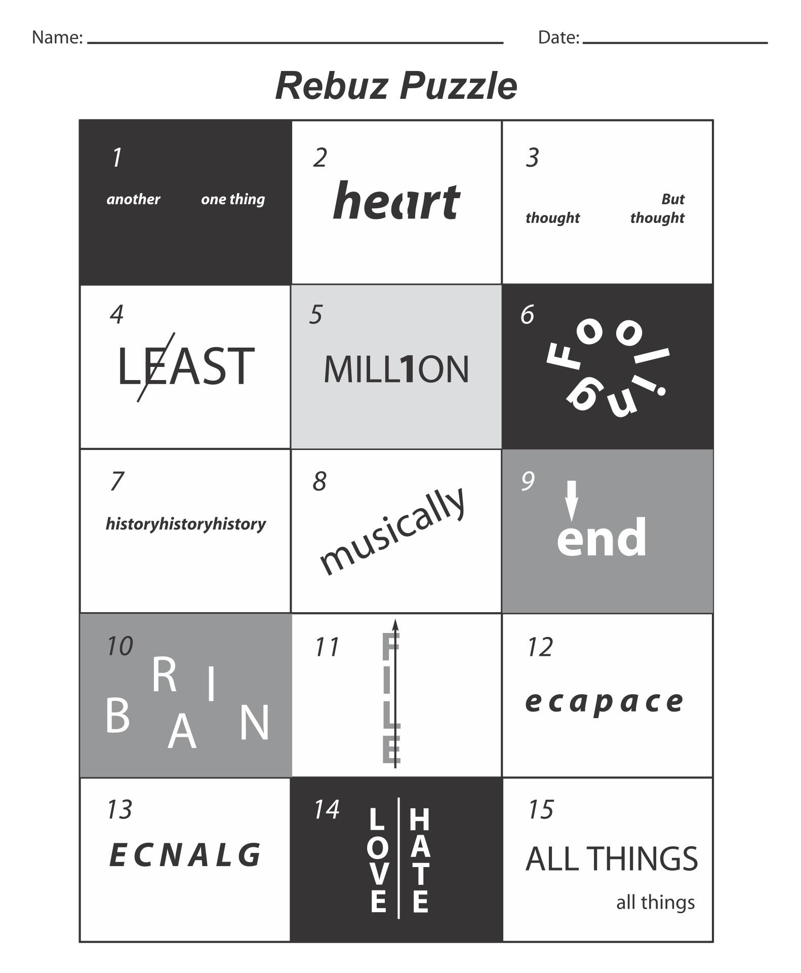 Rebus Puzzle Brain Teasers
