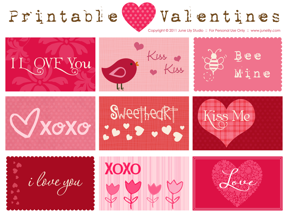 Valentine Cards Free Printable Tags