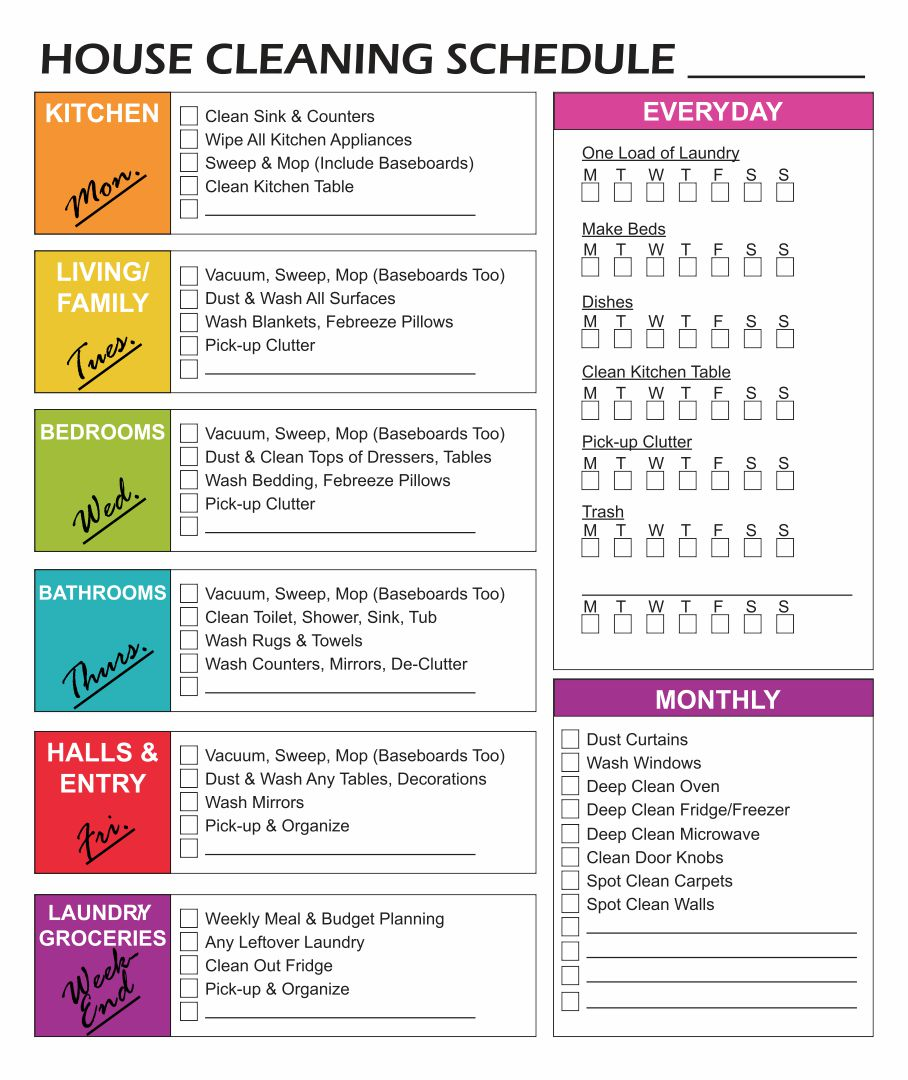 Weekly House Cleaning Checklist Printable