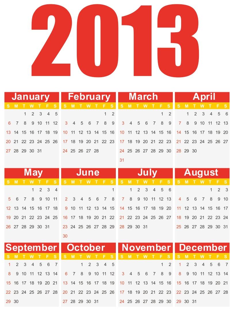 2013 Calendar Printable Free