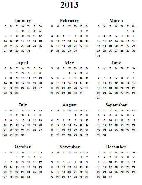 4 Images of Free Printable Yearly Calendar 2013