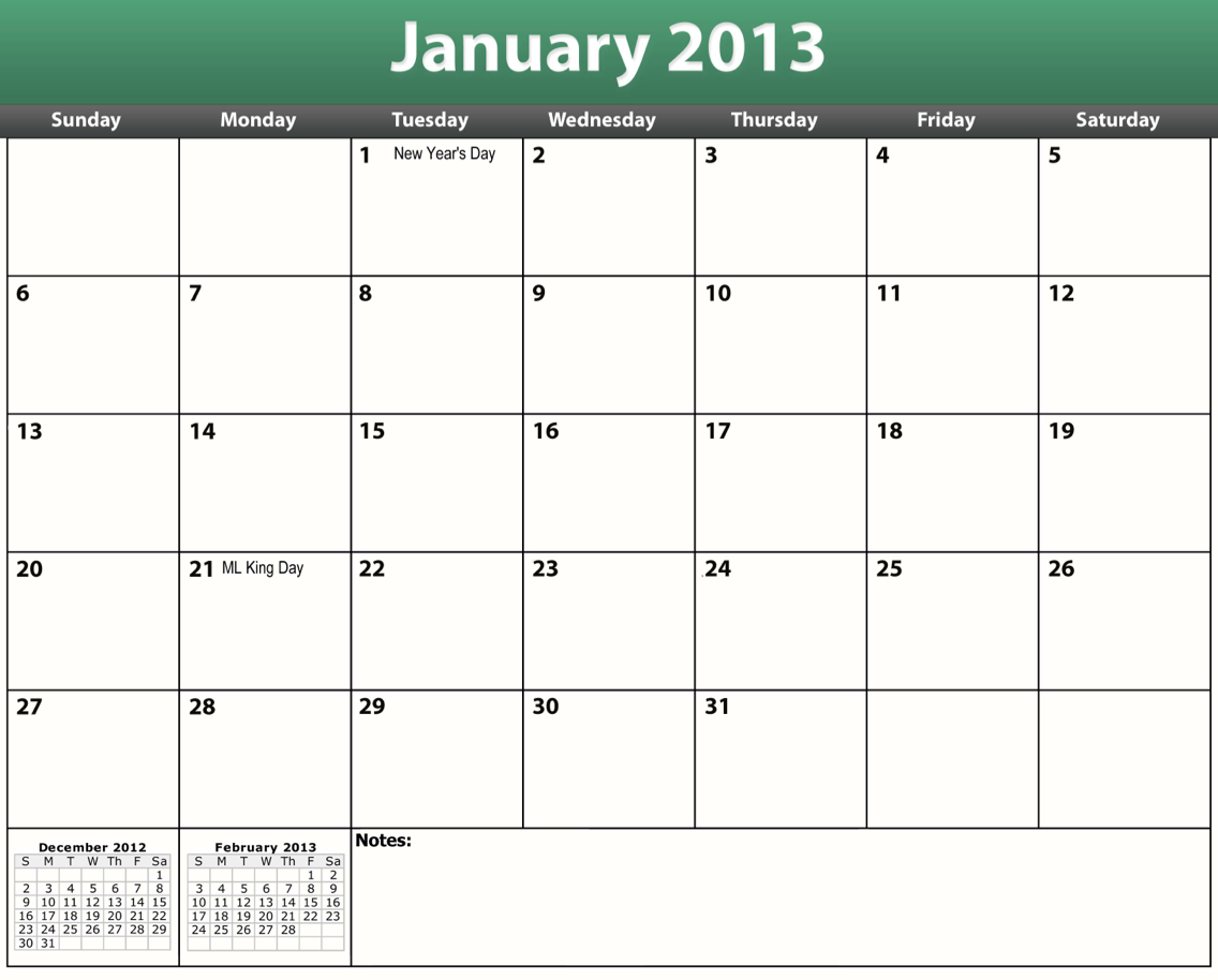 2013 Printable Calendars Templates PDF