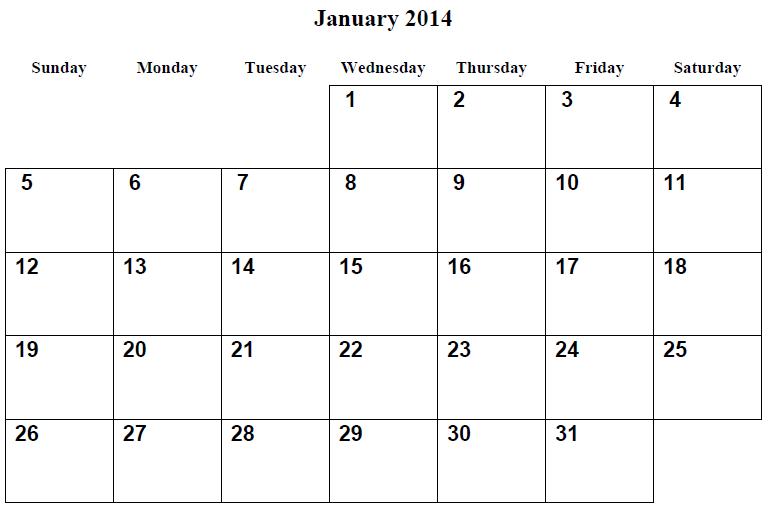 ... January 2014 Calendar 6 best images of free printable calendar january