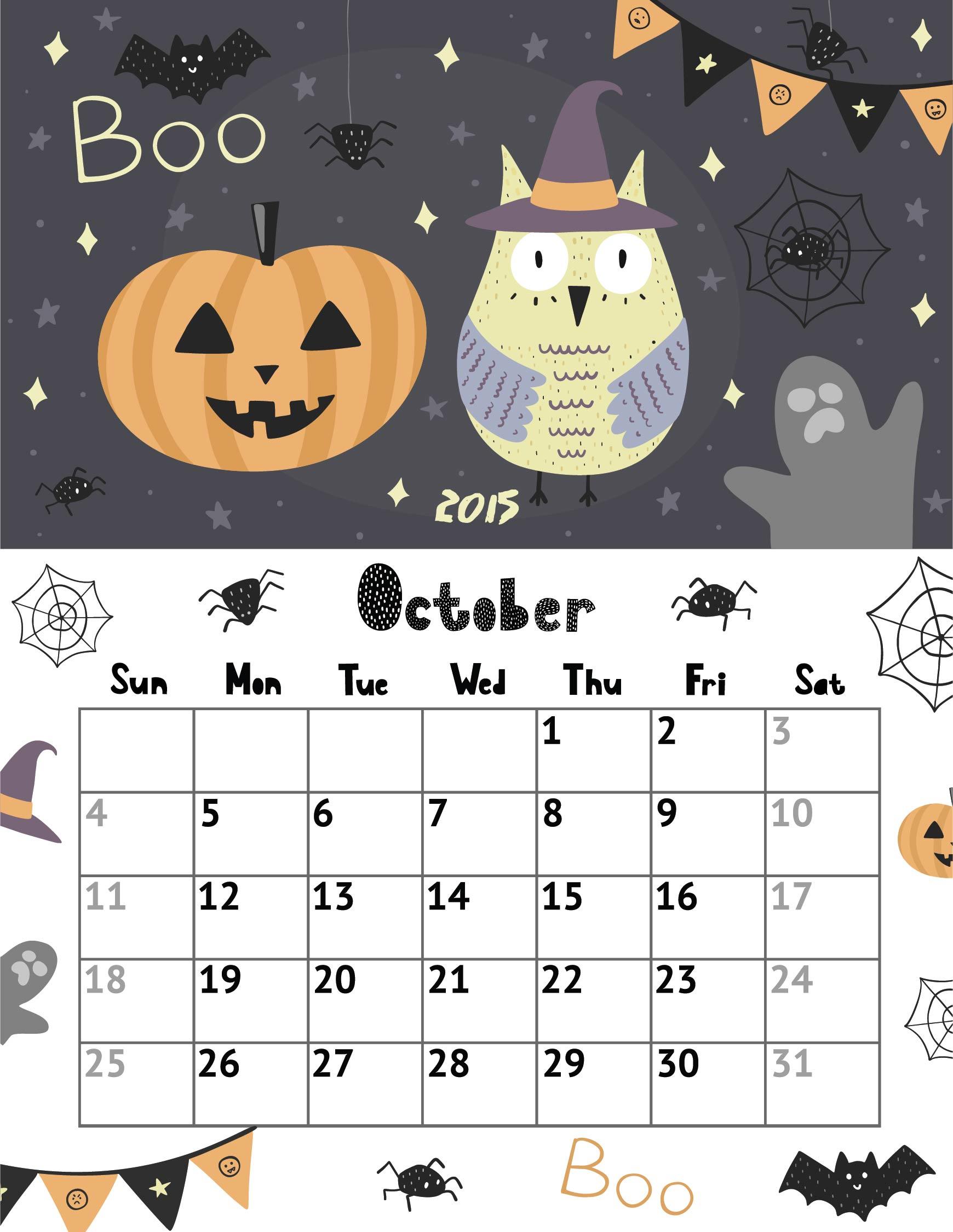 2015 Calendar Printable October Halloween